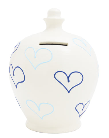 Love Money Pot White with Bright Blue and Pale Blue Hearts - L25