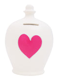 Love Money Pot White with Pink Heart and Silver Outline - L5