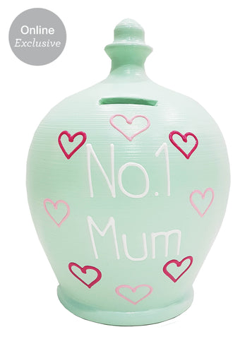 'No.1 Mum' Money Pot Mint Green With Pink Hearts - M11