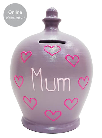 'Mum' Money Pot Heather With Pink Hearts- M12