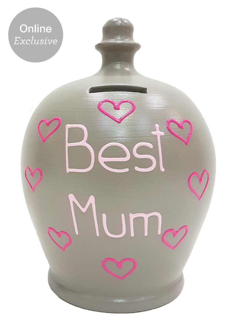 'Best Mum' Money Pot Grey With Pink Hearts - M13