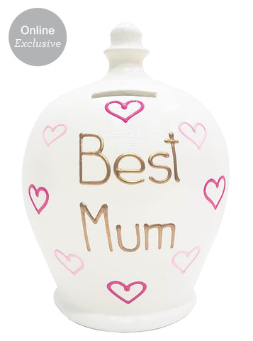'Best Mum' Money Pot White With Pink Hearts - M14