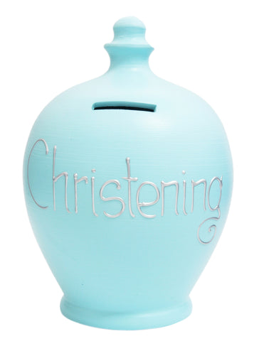 'Christening' Money Pot Baby Blue - S103