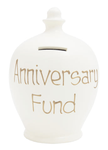 'Anniversary Fund' Money Pot White - S11