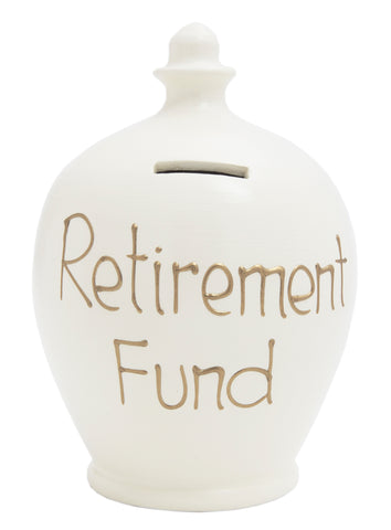 'Retirement Fund' Money Pot White - S12