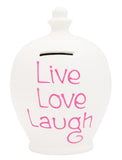 'Live Laugh Love' Money Pot White - S133
