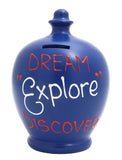 'Dream Explore Discover' Money Pot Electric Blue - S146