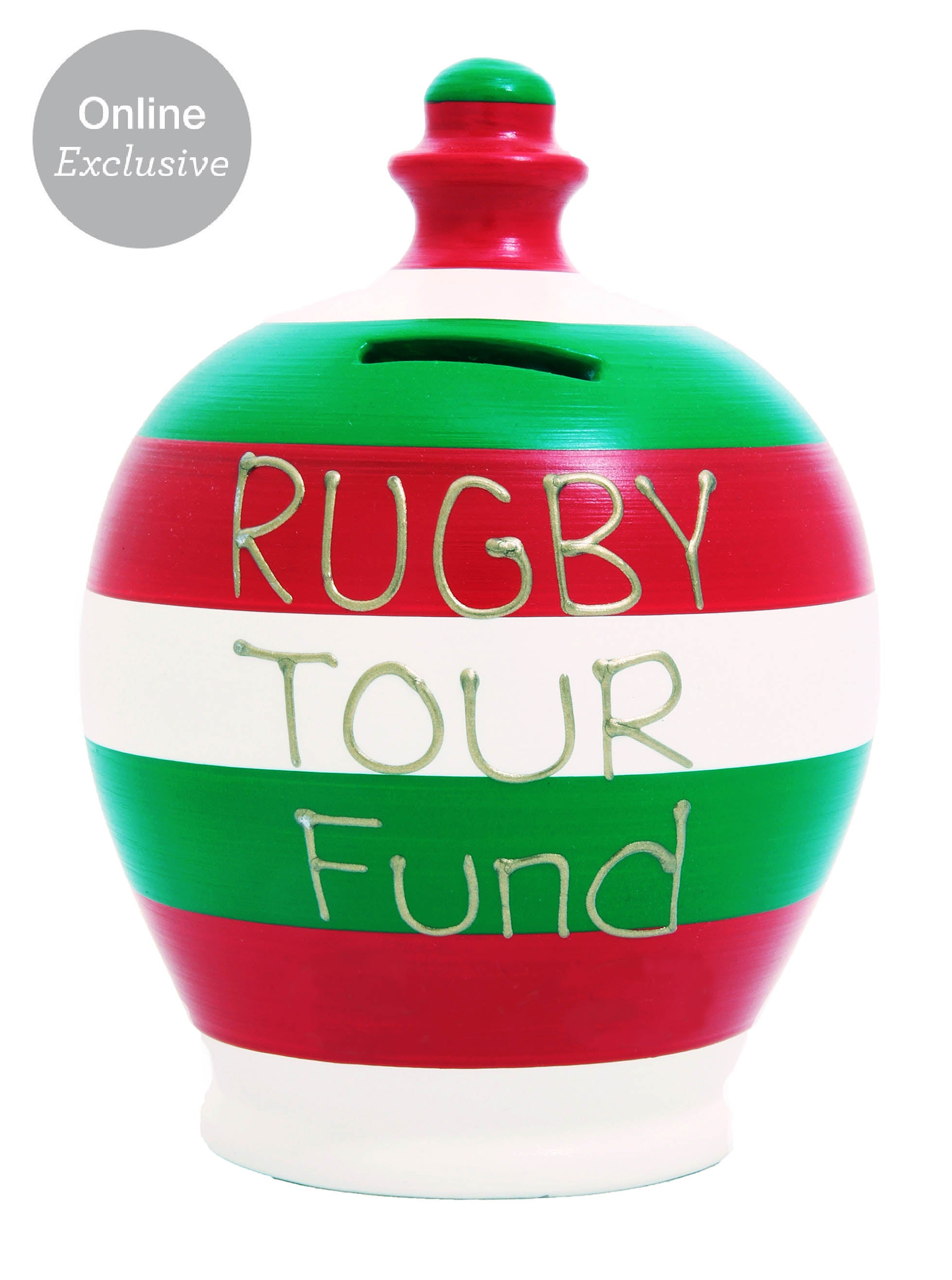 rugby tour fund stripe money pot white red and green s153