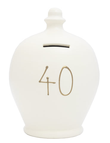TERRAMUNDI MONEY POT '40' White with Gold - S17