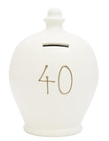 Terramundi Money Pot EXPRESS '40' White with Gold - EXS17