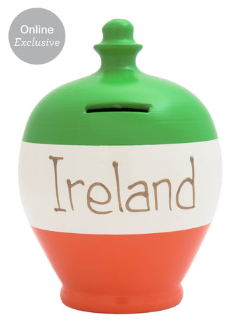 'Ireland' Money Pot Green, White and Orange - S218