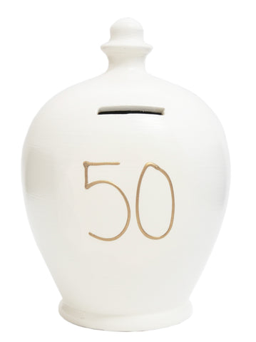 Terramundi Money Pot '50'  White with Gold- S24