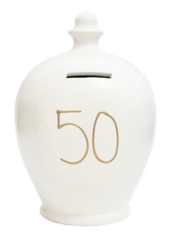 Terramundi Money Pot EXPRESS '50' White with Gold  - EXS24