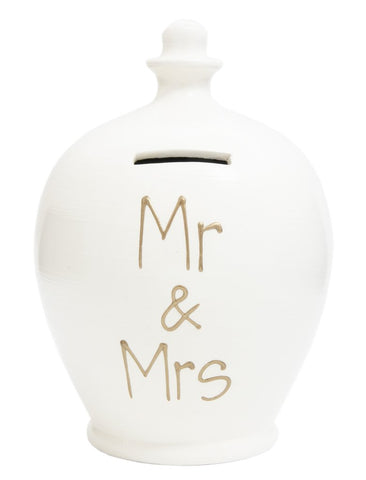 Terramundi Money Pot EXPRESS 'MR & MRS' White with Gold - EXS26