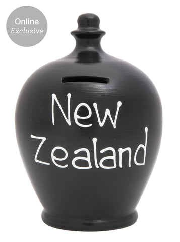 'New Zealand' Money Pot Black - S263