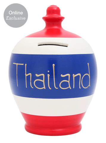 'Thailand' Money Pot White with Electric Blue and Red Stripes - S265