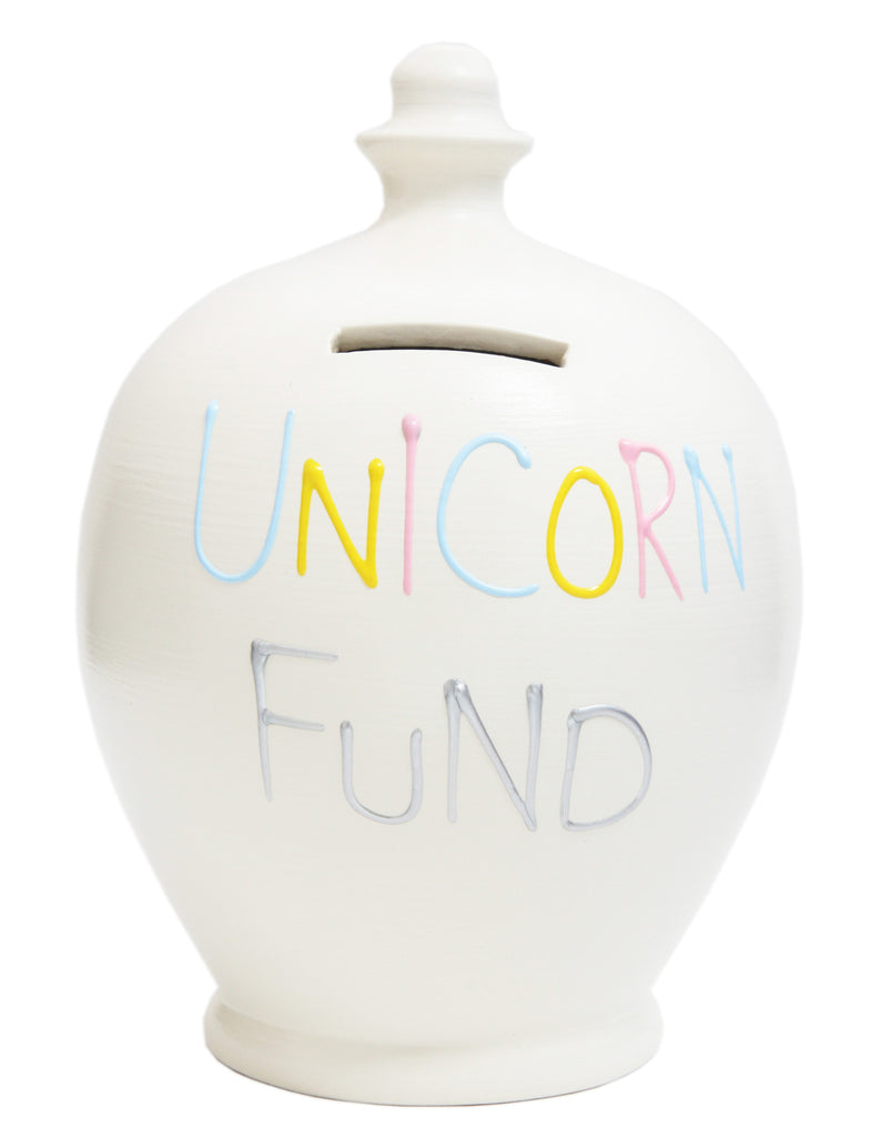 Terramundi Money Pot 'Unicorn Fund' White - S268