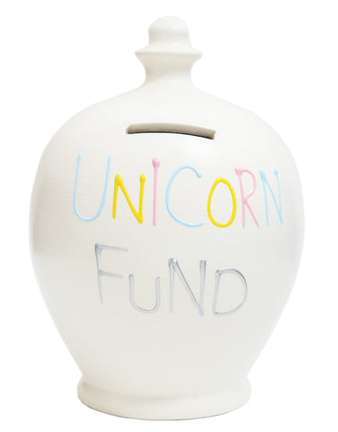 'Unicorn Fund' Money Pot White - S268