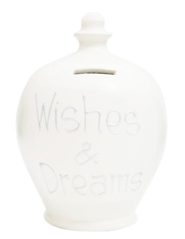 Terramundi Money Pot EXPRESS 'Wishes & Dreams' White with Silver - EXS27