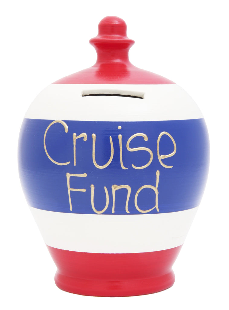 'Cruise Fund' Money Pot White with Red and Blue Stripes - S281