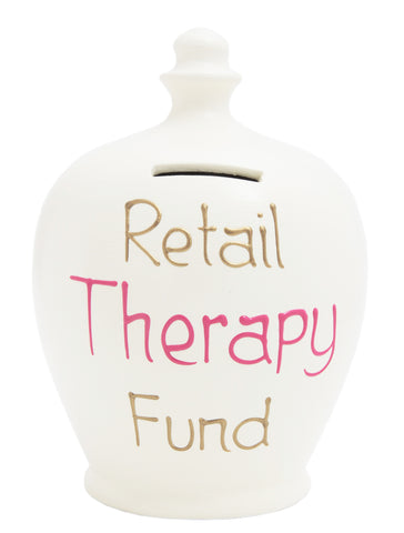 'Retail Therapy Fund' Money Pot White - S282
