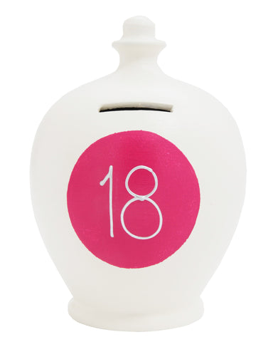 '18' Money Pot White with Pink Spot - S288