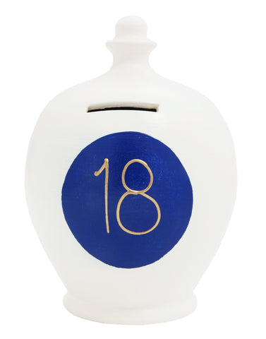 '18' Money Pot White with Blue Spot - S289