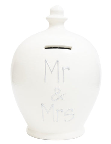 Terramundi Money Pot EXPRESS 'MR & MRS' White with Silver - EXS29