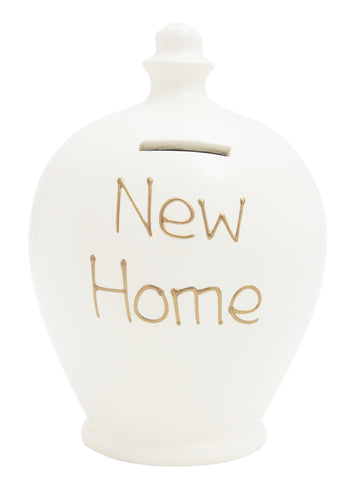 Terramundi Money Pot 'New Home' White with Gold - S36