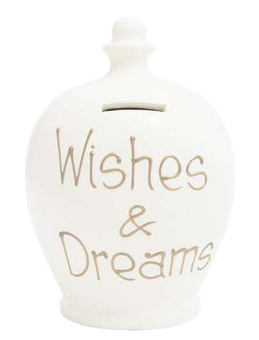 Terramundi Money Pot EXPRESS 'WISHES & DREAM' White with Gold - EXS37
