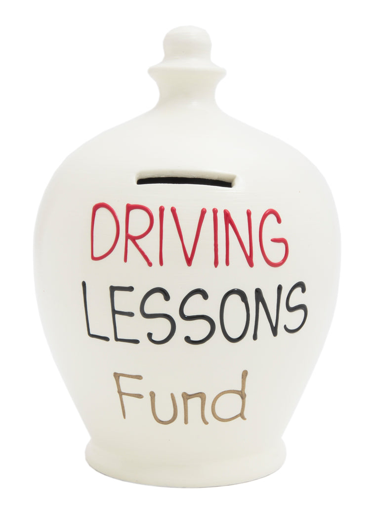 Terramundi Money Pot 'Driving Lessons Fund' White - S4