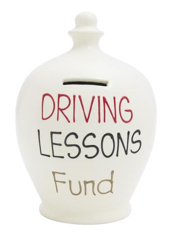 Terramundi Money Pot EXPRESS 'Driving Lessons Fund' WHITE - EXS4