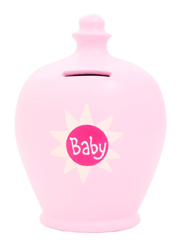 'Baby' Money Pot Pale Pink with Pink Sun - S42