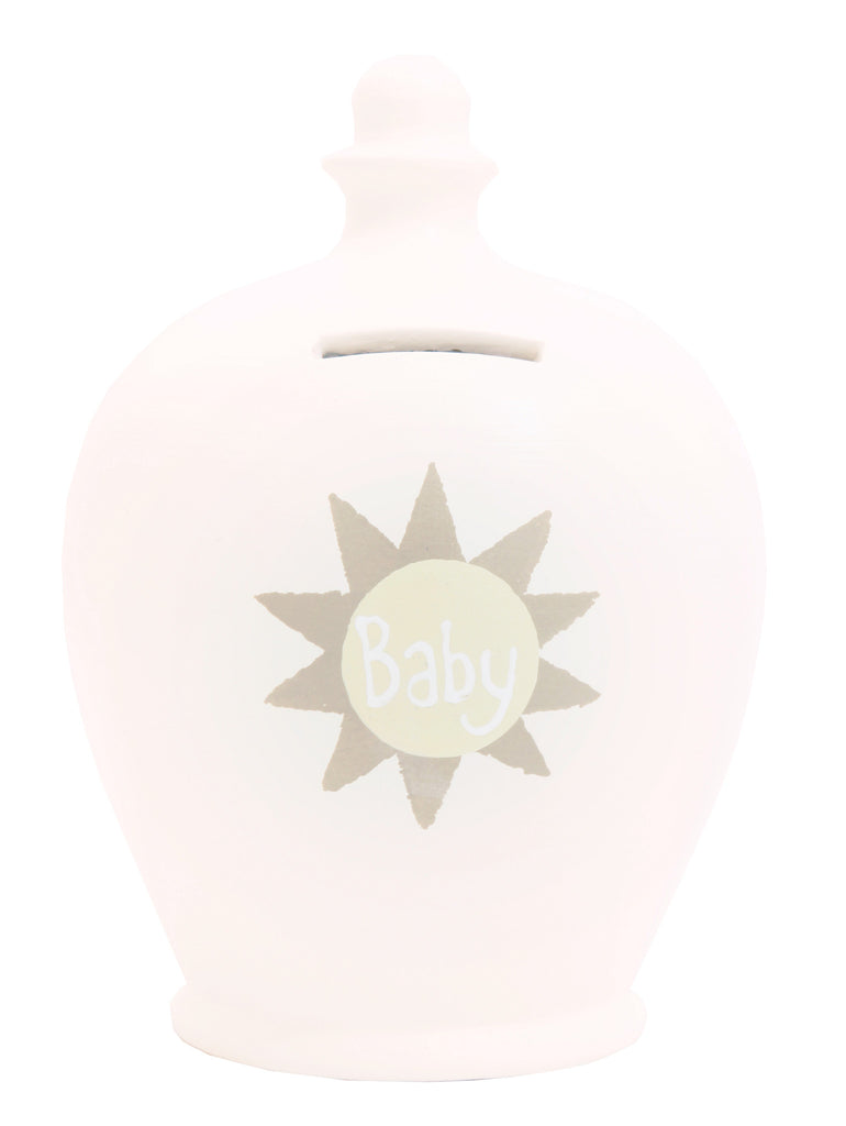 'Baby' Money Pot White with Beige Sun - S43