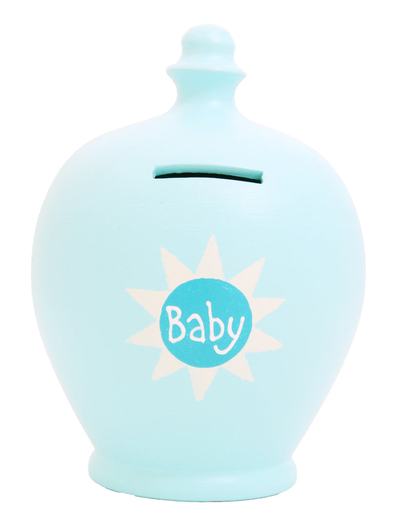 'Baby' Money pot Baby Blue with Blue Sun - S44