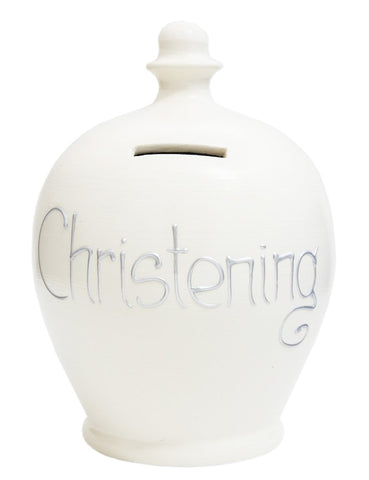 Terramundi Money Pot EXPRESS 'CHRISTENING' White with Silver - EXS45