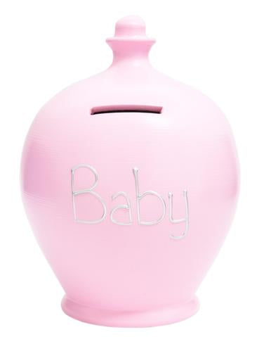 Terramundi Money Pot EXPRESS 'BABY' Pink with Silver - EXS49