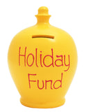 'Holiday Fund' Money Pot Yellow - S52