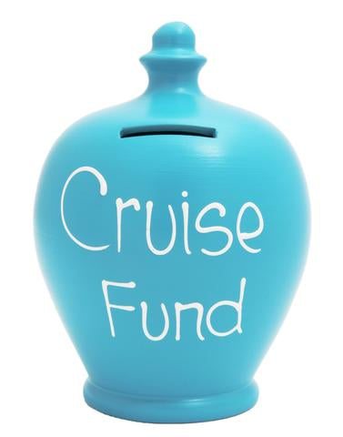 Terramundi Money Pot EXPRESS 'Cruise Fund' Blue with White  - EXS83
