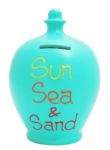 'Sun Sea & Sand' Money Pot Aqua - S86