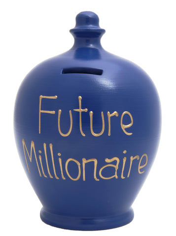 Terramundi Money Pot 'Future Millionaire' Electric Blue - S92