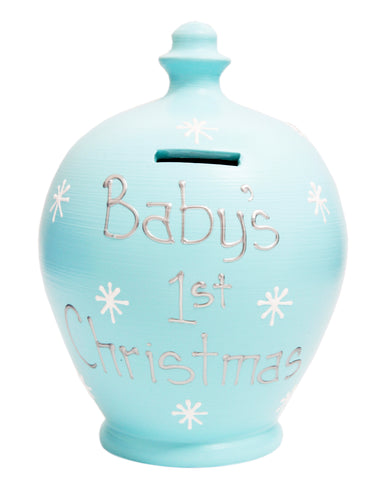 'Baby's 1st Christmas' Money Pot Baby Blue - X10
