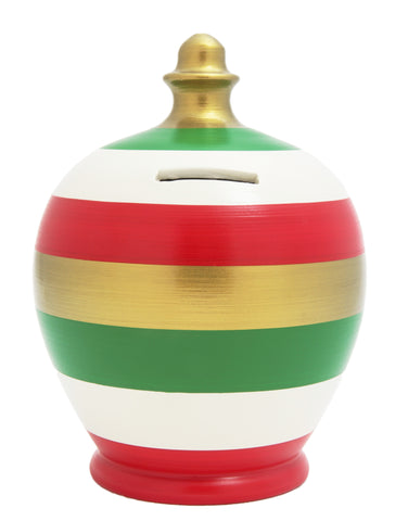 Stripe Money Pot White, Green, Red and Gold - X17