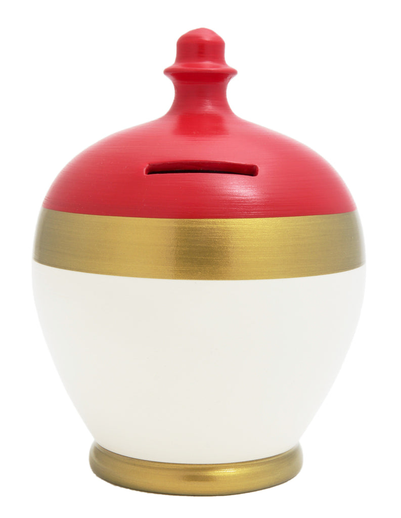 Stripe Money Pot Red, Gold and White - X20