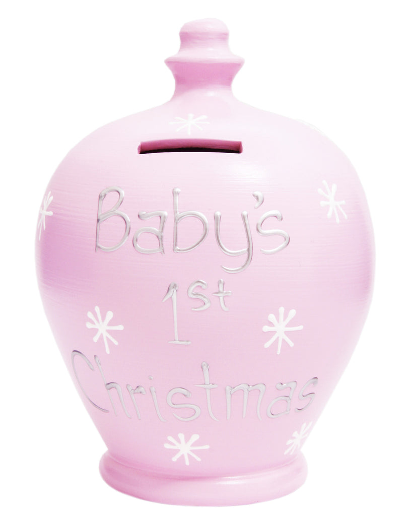 'Baby's 1st Christmas' Money Pot Pale Pink - X6