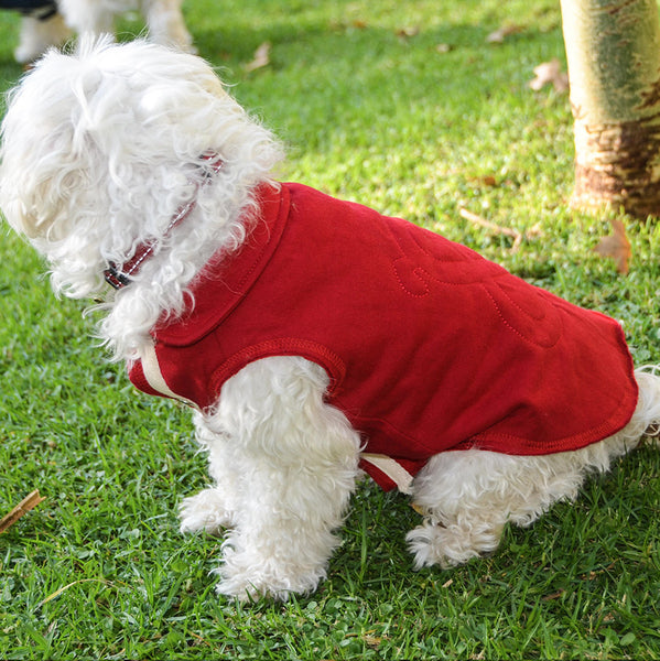 Cotton Fleece Jump Coat- Red