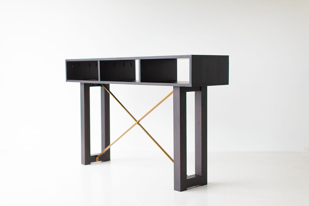 Modern Console Table - Black and Brass - 0819