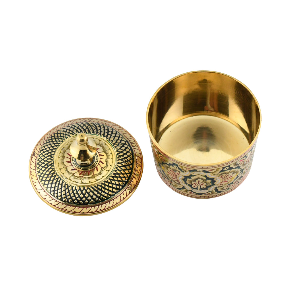 Trident EXIM Handmade Home Decor Brass Box, Painted  & Engraved Decorations Of High Quality & Purity.