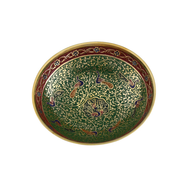 Trident EXIM  Handmade Brass Home Decor Large Bowl, Painted & Engraved Decorations  Of High Quality & Purity