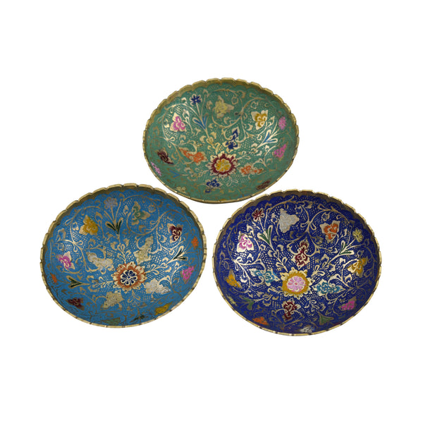 Trident EXIM Handmade Brass Home Decor , Painted & Engraved Decorations Of High Quality & Purity Bowl Set Of 3
